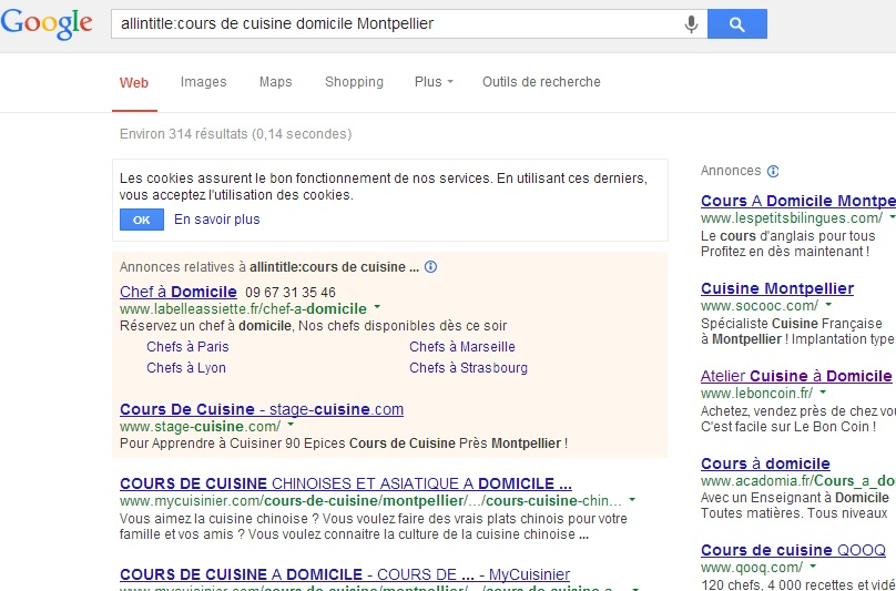 SEO - Auditer son positionnement - mots clés - cours de cuisine Montpellier