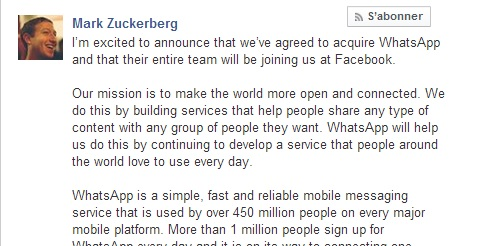 C'est officiel, Mark Zuckerberg annonce le rachat de WhatsApp