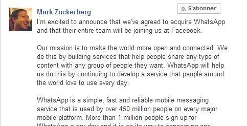 C'est officiel, Mark Zuckerberg annonce le rachat de WhatsApp