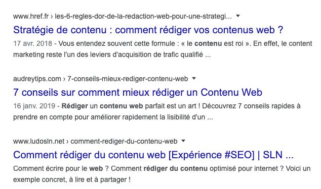 résultats google comment rediger du contenu web