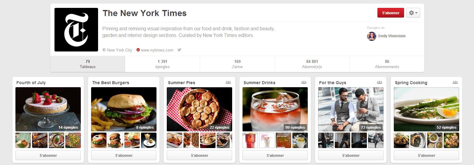 Exemple épingles et tableaux Pinterest