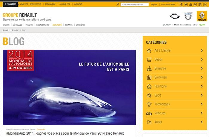 Blog d'entreprise, l'exemple du groupe Renault