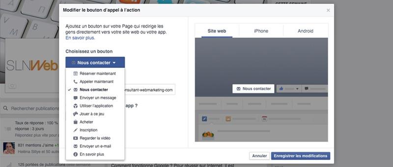 creer la page facebook de son entreprise - les call to action