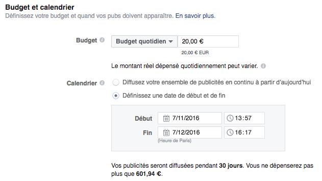 budget campagne facebook ads