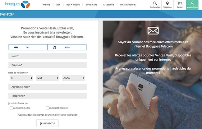 5 étapes pour avoir plus d'abonnés à sa newsletter en B2B - Exemple bouygues