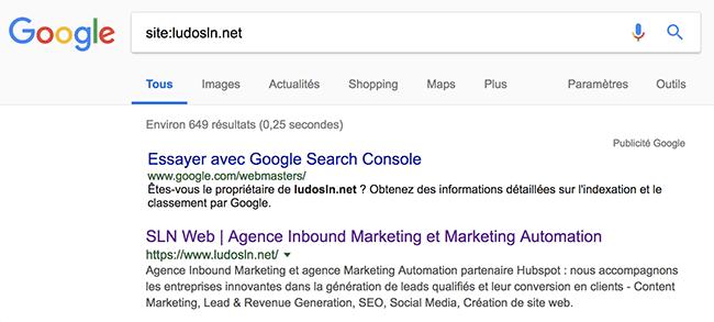 comment vérifier site web apparait sur google