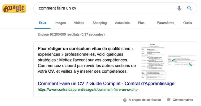La position 0 un enjeu pour le referencement google