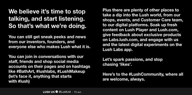 Lush communique sur les réseaux sociaux autrement