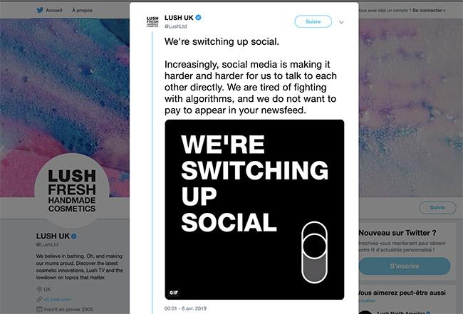 L'annonce de Lush qui arrête les réseaux sociaux