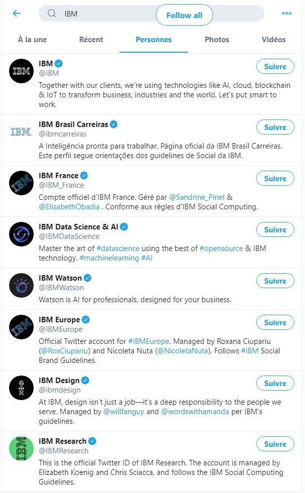 exemple twitter en B2B par IBM