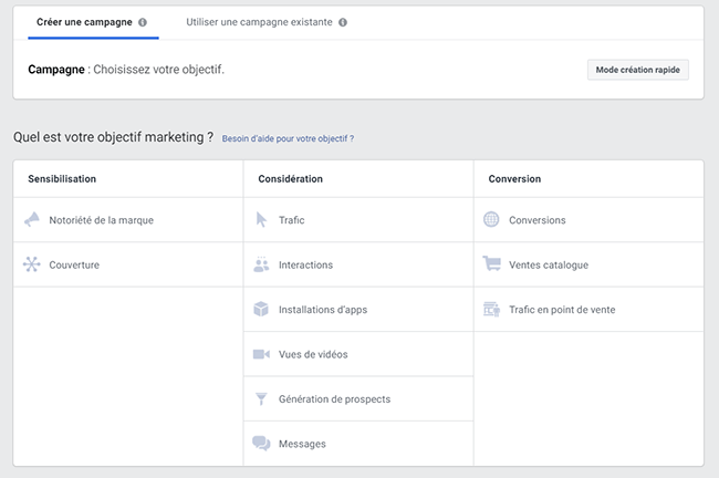 les objectifs dans Facebook ads en B2B