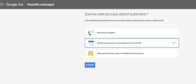 quels objectifs parametres dans Google Ads
