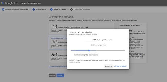 quel budget definir dans Google Ads