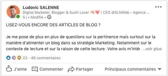 débat linkedin blog levier marketing