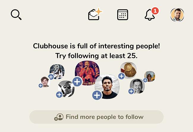menu du reseau social clubhouse
