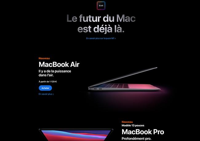 apple transforme ses fiches produits en landing page