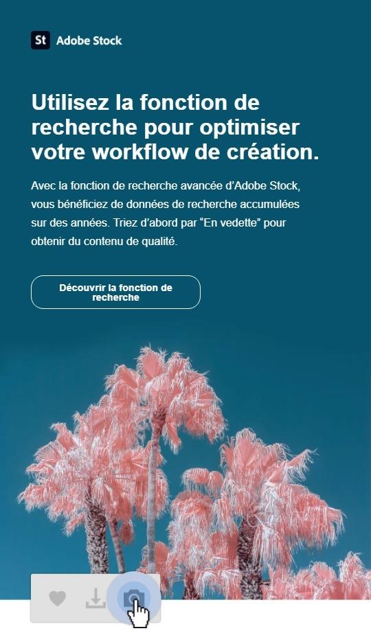 Exemple d'action d'activation en growth marketing chez Adobe Stock