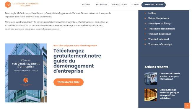 Exemple de placement d'un call-to-action sur une page web