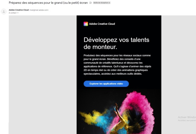 Exemple de newsletter chez Adobe