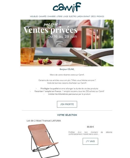Exemple de newsletter chez Camif