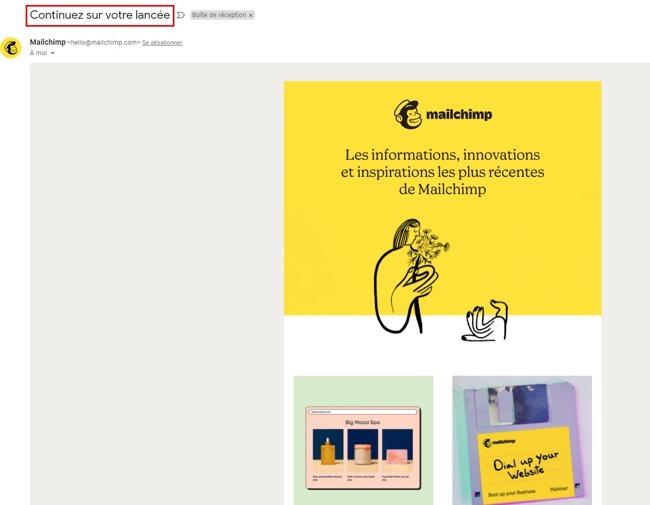 exemple de newsletter chez Mailchimp