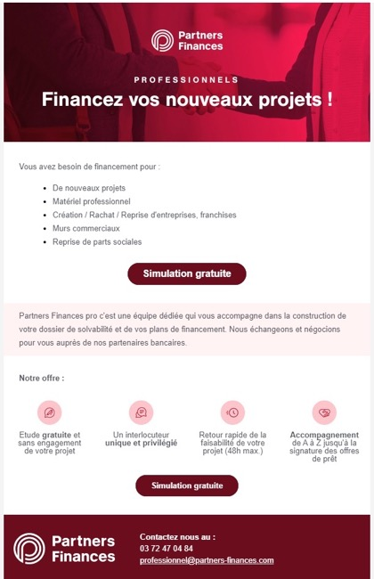 Exemple de newsletter chez Partners Finances