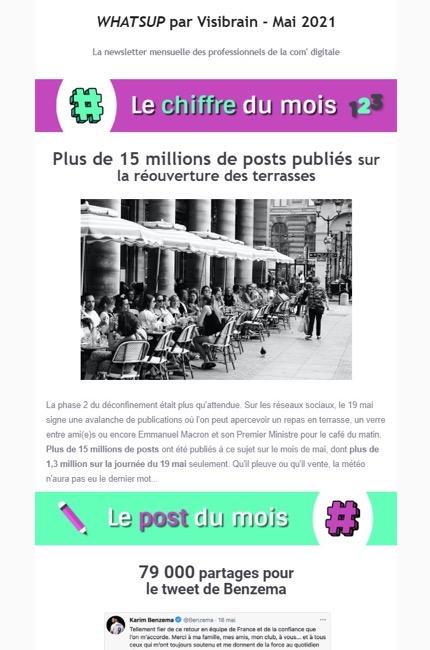 Exemple de newsletter chez Visibrain