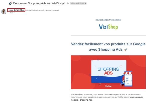 Exemple de newsletter chez Wizishop