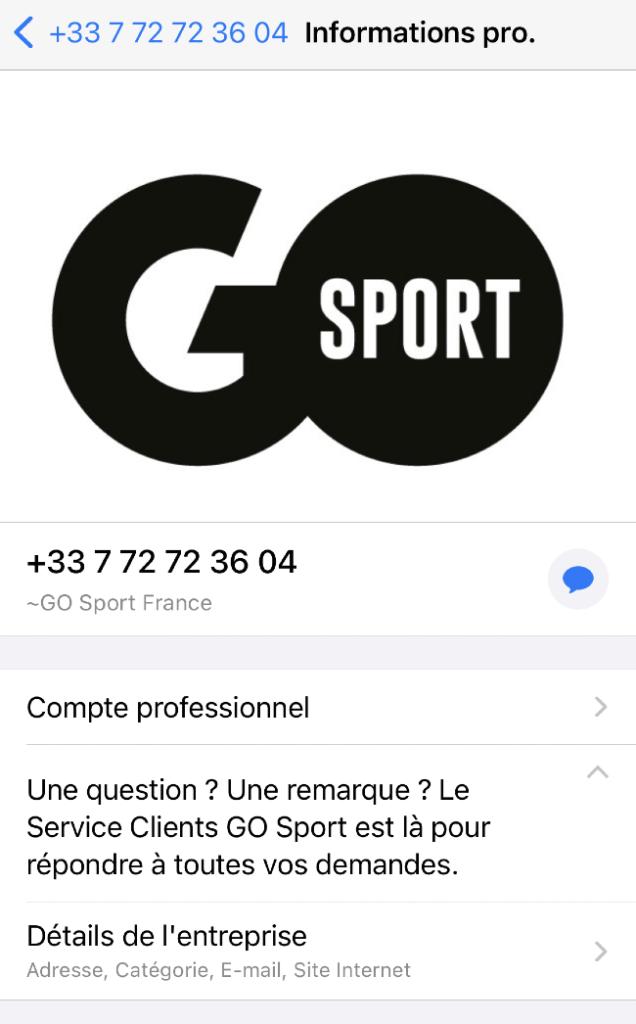 Un exemple de compte professionnel sur WhatsApp