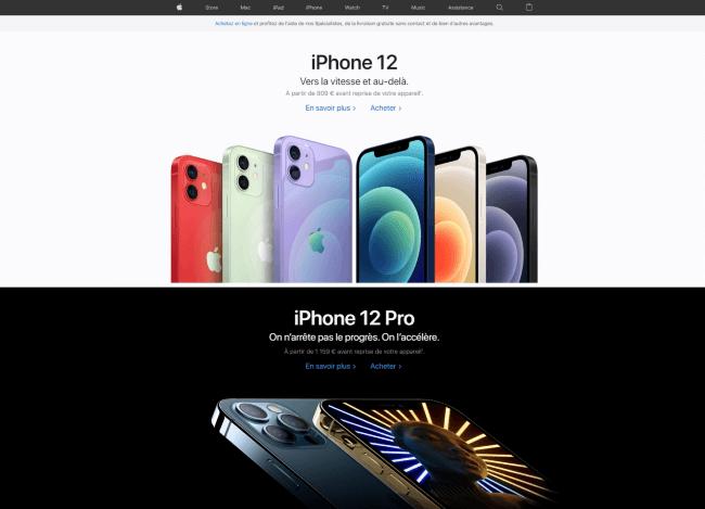 L'exemple de la page d'accueil de Apple qui mets toujours très en avant les visuels de ses produits