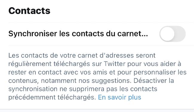 La synchronisation des contacts sur Twitter