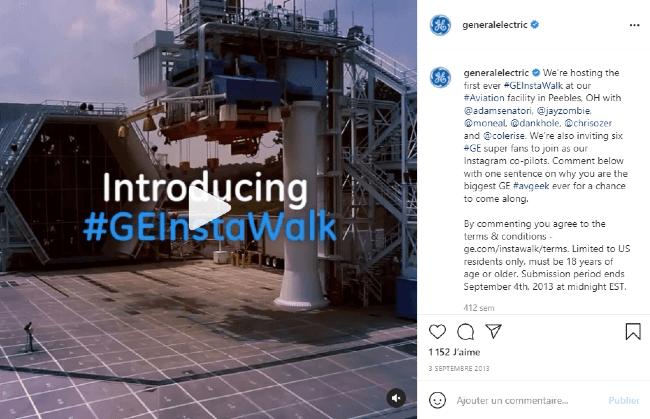 Un exemple de post Instagram chez General Electrics