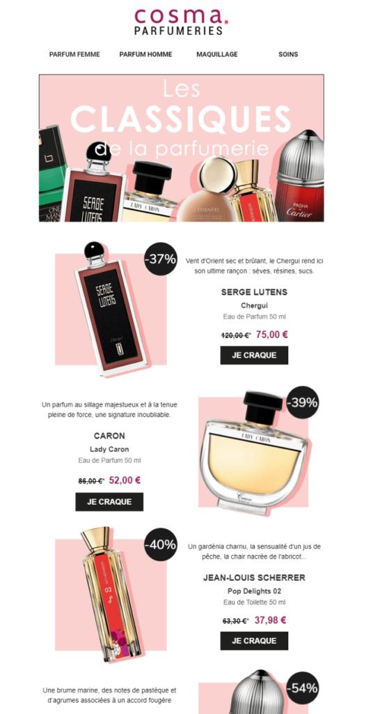 Exemple de newsletter chez Cosma Parfumeries