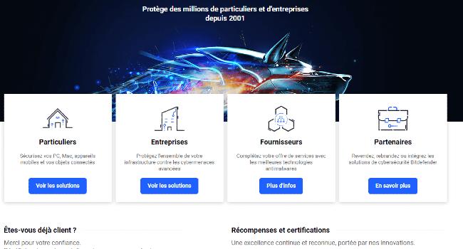 Un exemple de page d'accueil qui présente les différentes cibles visées