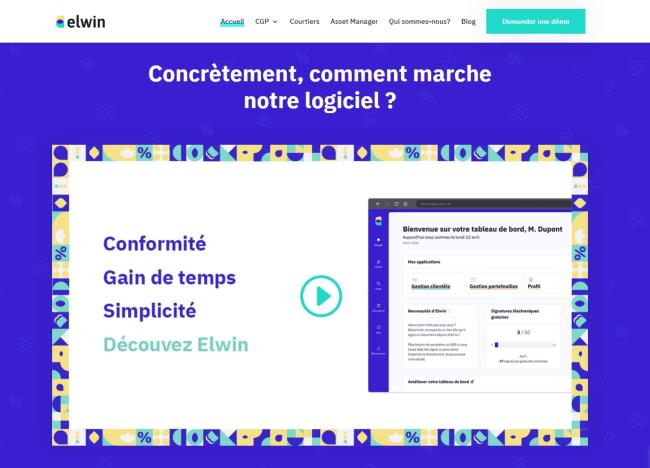 Un exemple de homepage présentant la solution de l'entreprise