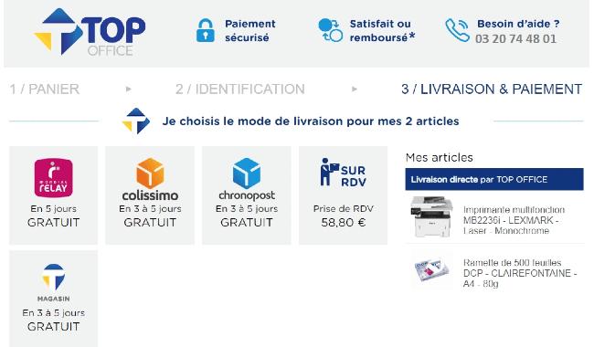 Un exemple de page proposant des options de livraisons en e-commerce