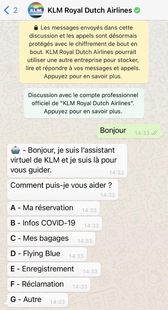 Un exemple d'utilisation de la messagerie WhatsApp par KLM