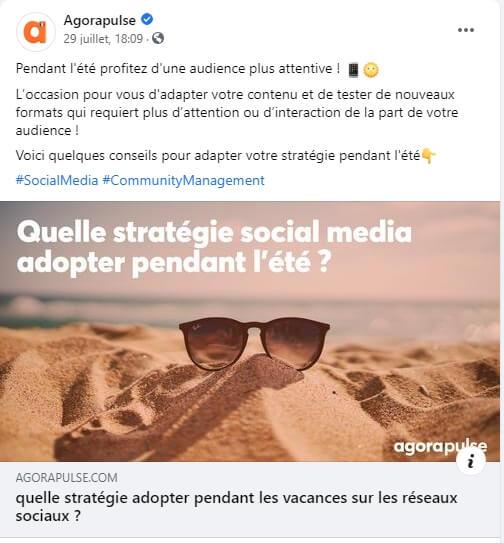 Un exemple de post Facebook epinglé chez Agorapulse