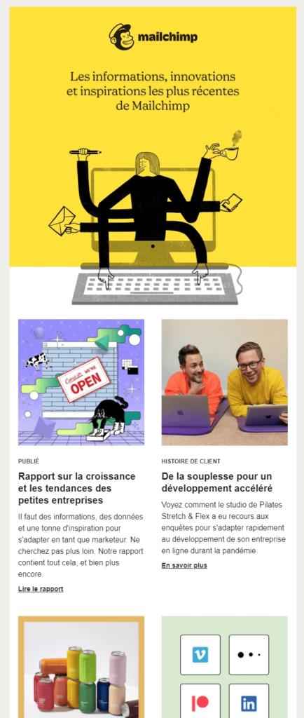 Un exemple de newsletter chez Mailchimp