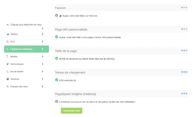 L'analyse du temps de chargement d'une page web sur notre outil SEO