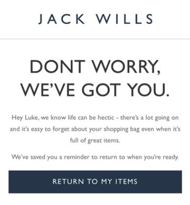 Exemple de call to action sur un email de relance de panier abandonné