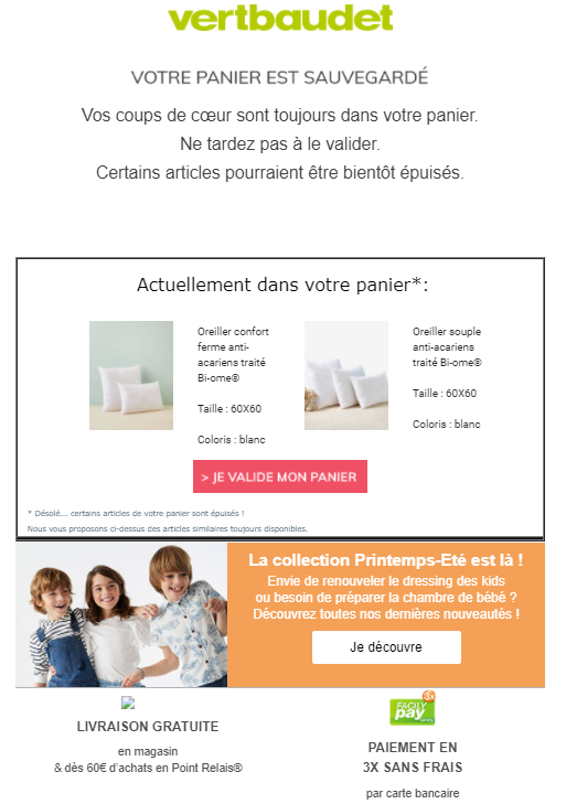 Exemple de mail de relance chez Vertbaudet